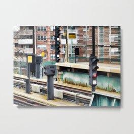 Railway station and semaphore Metal Print