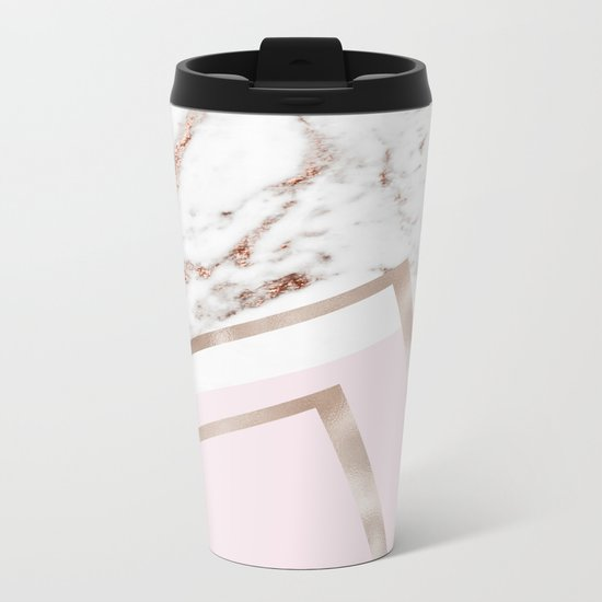 Geometric marble - luxe rose gold edition I Metal Travel Mug