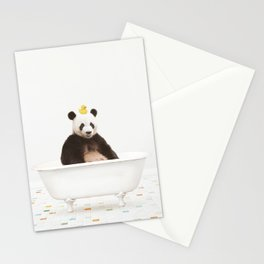 Panda with Rubber Ducky in Vintage Bathtub Stationery Cards