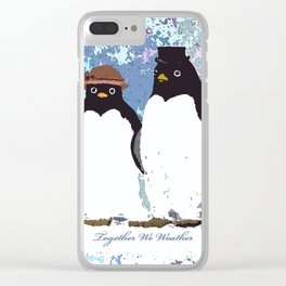 Together We Weather Penguin Art Clear iPhone Case