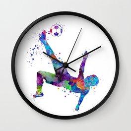 Bicycle Kick Soccer Boy Art Watercolor Gift Wall Clock