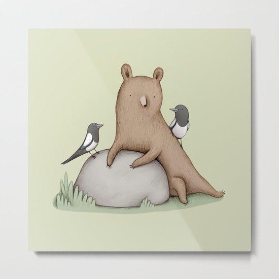 Bear & Birds Metal Print