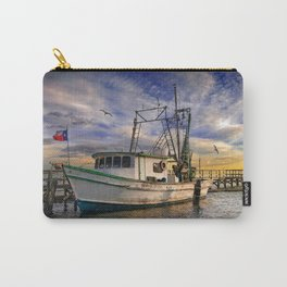 Fishing Boat flying the Texas Flag at a dock in the harbor at Aransas Pass in Texas Carry-All Pouch