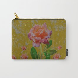 ANTIQUE AVOCADO COLOR  CORAL  PINK ROSES BOTANICAL ART Carry-All Pouch