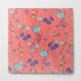 Living Coral Floral Pattern.Color of year 2019 Metal Print