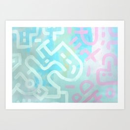 Bold Lines 1 - Pink, white and yellow Art Print