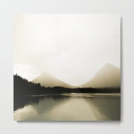 Montana Landscape Photography | Golden Landscape Shimmering Lake and Foggy Mountains Metal Print