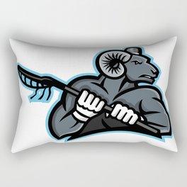 Bighorn Ram Lacrosse Mascot Rectangular Pillow