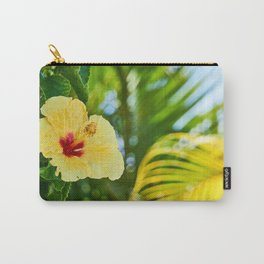 Yellow and Red Hibiscus Flower on green fern background Carry-All Pouch