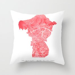 Barcelona map: Horta-Guinardò Throw Pillow