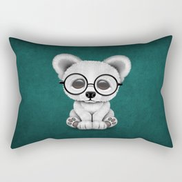 Cute Polar Bear Cub with Eye Glasses on Teal Blue Rectangular Pillow