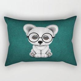 Cute Polar Bear Cub with Eye Glasses on Teal Blue Rectangular Pillow