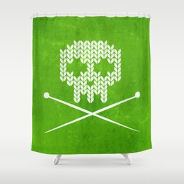 Knitted Skull / Knitting with Attitude (white on apple green) Shower Curtain
