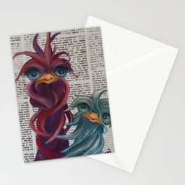 Red and Blue Newsprint Stationery Cards