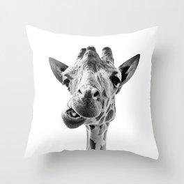 Giraffe Portrait Black and White Throw Pillow