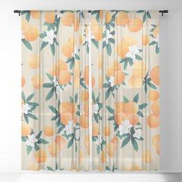 Orange Twist Flower Vibes #9 #tropical #fruit #decor #art #society6 Sheer Curtain