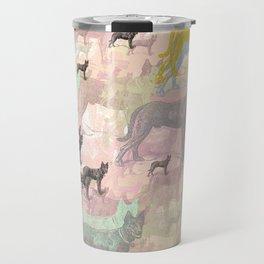 Sky Dogs - Abstract Geometric pink mauve mint grey orange Travel Mug