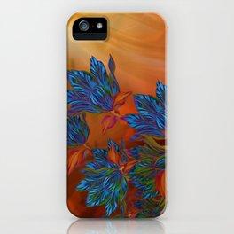 """Blue flowers on orange silk"" (Air Spring at night) iPhone Case"