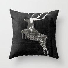 Deer City Collage 1 Throw Pillow