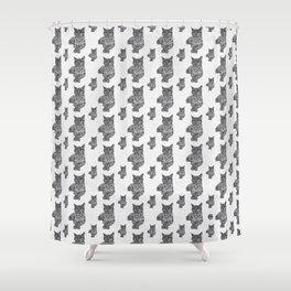 Zentangle Cat Shower Curtain