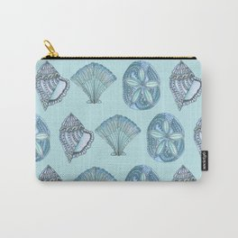 Watercolor Seashells Aqua Background  Carry-All Pouch