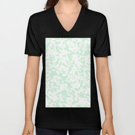 Spots - White and Pastel Green Unisex V-Neck