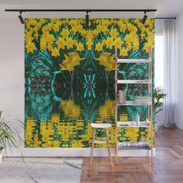 YELLOW DAFFODILS TURQUOISE PATTERNED GARDEN Wall Mural