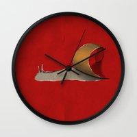 snail Wall Clocks featuring snail by gazonula