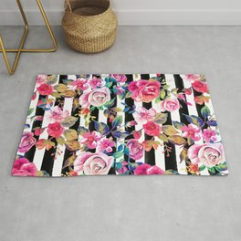 Cute spring floral and stripes watercolor pattern Rug