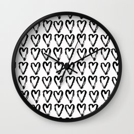 Black & White-Love Heart Pattern - Mix & Match with Simplicty of life Wall Clock