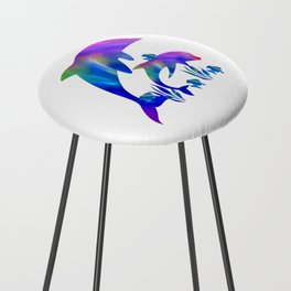 Rainbow Dolphins swimming in the sea Counter Stool