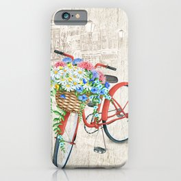 Red bike & white daisy iPhone Case