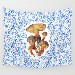 Blue watercolor leaves with mushrooms Wall Tapestry