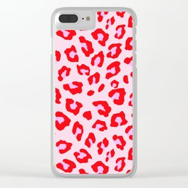 Leopard Print - Red And Pink Clear iPhone Case