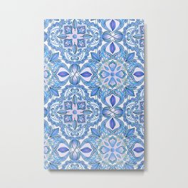 Cornflower Blue, Lilac & White Floral Pattern Metal Print