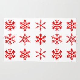 red snowflake seamless pattern Rug