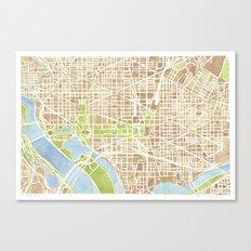 Washington DC watercolor city map Canvas Print