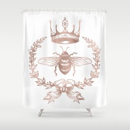 Queen Bee in Rose Gold Pink Shower Curtain