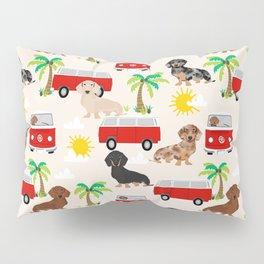 Dachshund Beach day palm tree summer dog cute dog pillow dog blanket beach towel Pillow Sham