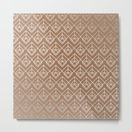 Modern Geometric Diamond Arrow Pattern in Cinnamon Metal Print
