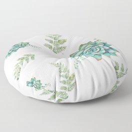 Fern and Succulent Pattern Floor Pillow
