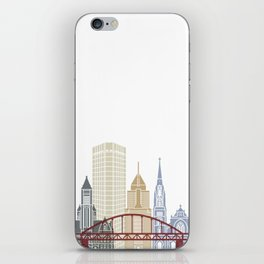 Pittsburgh V2 skyline poster iPhone Skin