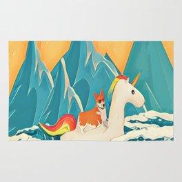 Corgi and the rainbow unicorn Rug