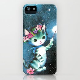 Space Witch Cat handcut collage iPhone Case