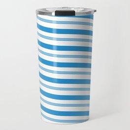 Blue White Stripe Christmas Candy Cane Pattern Travel Mug
