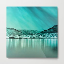 ice city turquoise aesthetic landscape art altered photography Metal Print