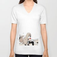 doberman V-neck T-shirts featuring Monsieur Doberman by Cassandra Jean
