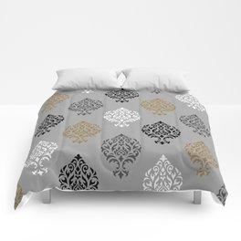 Orna Damask Ptn BW Grays Gold Comforters
