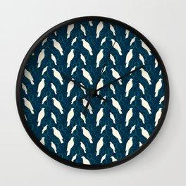 Kereru and magnolia - navy  Wall Clock