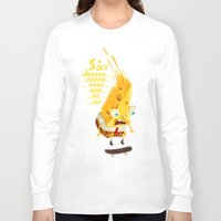cheese Long Sleeve T-shirts featuring Say cheese by Lime